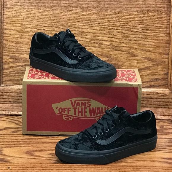 Vans Old Skool Velvet Black Black Shoes NWT